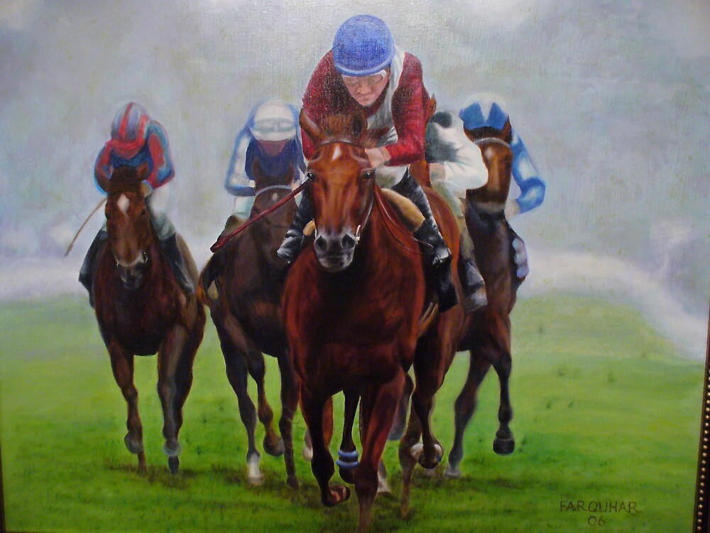 Flat Racing, Epsom by Jean Farquhar