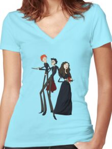 Tim Burton's Potter Women's Fitted V-Neck T-Shirt