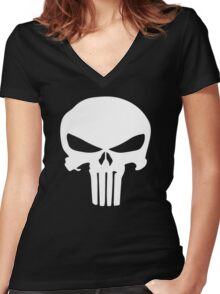 The punisher Logo Women's Fitted V-Neck T-Shirt