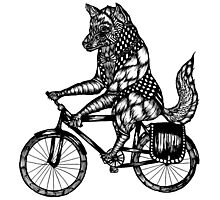 Wolf on a Bike Ride  Photographic Print