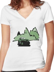 Jeeping It!: GREEN Women's Fitted V-Neck T-Shirt