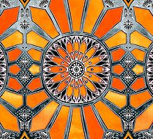 Celebrating the 70's - tangerine orange watercolor on grey by micklyn