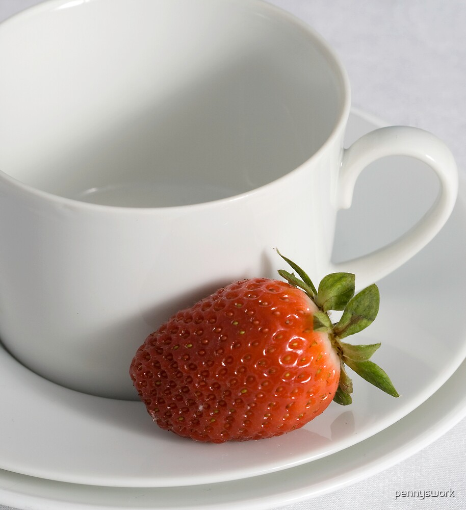 Cup, Saucer and Strawberry by pennyswork