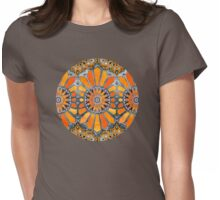 Celebrating the 70's - tangerine orange watercolor on grey Womens Fitted T-Shirt