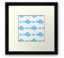 Fishes seamless watercolor background. Fish seamless pattern background vector illustration Framed Print