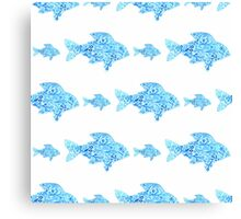 Fishes seamless watercolor background. Fish seamless pattern background vector illustration Canvas Print