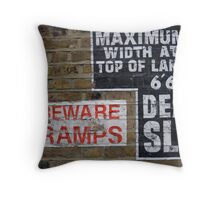Signs Painted on Brick Wall Throw Pillow