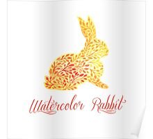 Patterned floral watercolor rabbit vector illustration Poster