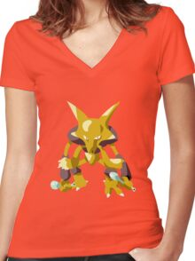 Alakazam Pokemon Simple No Borders Women's Fitted V-Neck T-Shirt