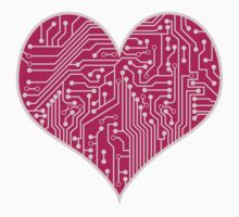 Digital Love Heart Printed Circuit Board Design Kids Clothes