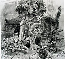 2cats 1 dog. by Robert David Gellion