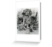 2cats 1 dog. Greeting Card