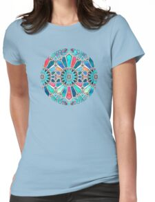Iridescent Watercolor Brights on White Womens Fitted T-Shirt