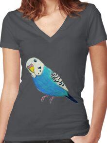 Parakeet Drawing T-shirt Women's Fitted V-Neck T-Shirt