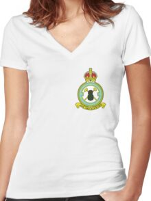 75(NZ) Squadron RAF Full Colour crest (small) Women's Fitted V-Neck T-Shirt