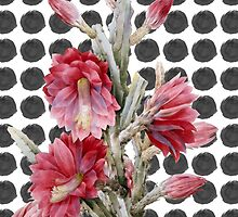 Watercolor Floral Cactus on Black White Polka Dots by Blkstrawberry