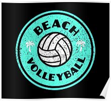 Beach Volleyball Neon Distressed Poster