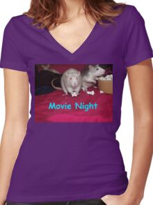 rats movie night Women's Fitted V-Neck T-Shirt