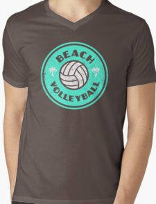 Beach Volleyball Neon Distressed Mens V-Neck T-Shirt