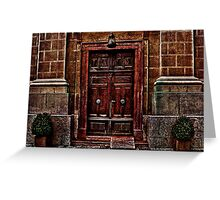 European Old Wooden Door Greeting Card