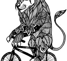 Lion Aztec on a Bicycle by toshibung