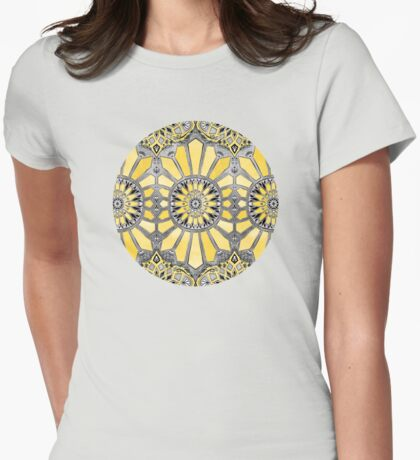 Sunny Yellow Radiant Watercolor Pattern Womens Fitted T-Shirt