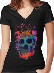 Splatter and Bone on Black Women's Fitted V-Neck T-Shirt