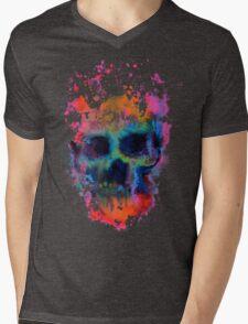 Splatter and Bone on Black Mens V-Neck T-Shirt