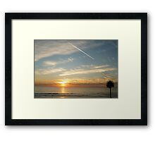 """""""Sunset, Contrail & A Palm Tree"""" Framed Print"""