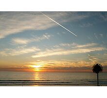 """""""Sunset, Contrail & A Palm Tree"""" Photographic Print"""