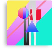 Bright Neon Colorful Geometric Shapes Pattern Canvas Print