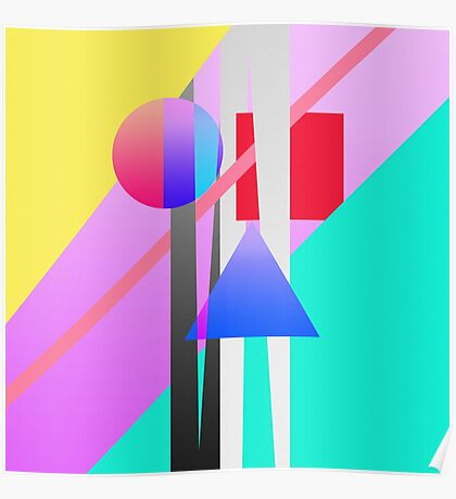 Bright Neon Colorful Geometric Shapes Pattern Poster