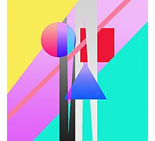 Bright Neon Colorful Geometric Shapes Pattern Photographic Print