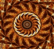 Brown Tan Gold Kaleidoscope Art 11 by Christopher Johnson