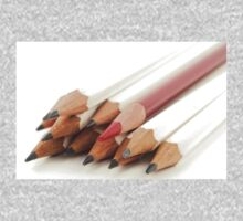 White and Red Pencils One Piece - Long Sleeve