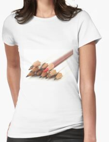 White and Red Pencils Womens Fitted T-Shirt