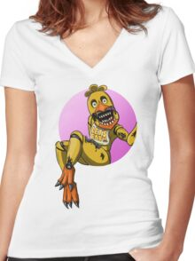 Chica the Chicken Women's Fitted V-Neck T-Shirt
