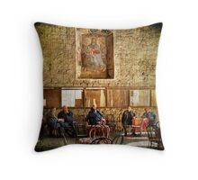 Italian conversation at the café Throw Pillow
