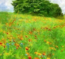 Hillside With Flowers And Trees by Jean Gregory  Evans