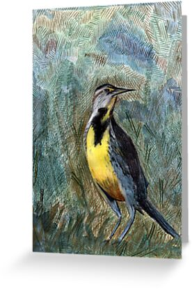105 - WESTERN MEADOWLARK - DAVE EDWARDS - COLOURED PENCILS & WATERCOLOUR - 2003 by BLYTHART