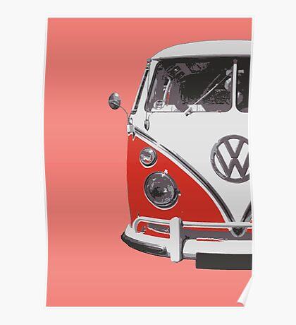 Red VW Camper Poster