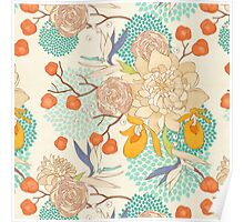 Peony Flower Pattern Poster
