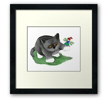 Fairy Sits on Cat Paw Framed Print