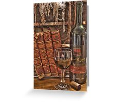 A Good Book and Wine Greeting Card