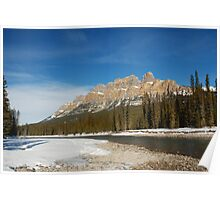 Castle Mountain in Winter Poster