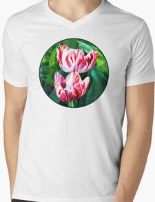 Elegant Red and White Striped Tulips Mens V-Neck T-Shirt