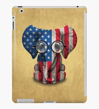 Baby Elephant with Glasses and American Flag iPad Case/Skin