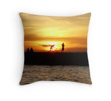 Silhouetted locals at sunset, Salvador, Brazil Throw Pillow