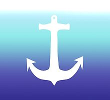Sea Blue Gradient and Trendy White Anchor by Blkstrawberry