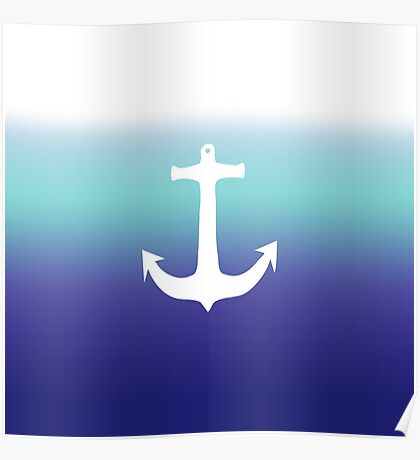 Sea Blue Gradient and Trendy White Anchor Poster